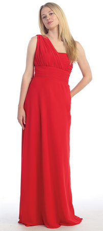 Long one shoulder straps bridesmaid dress- MQ940