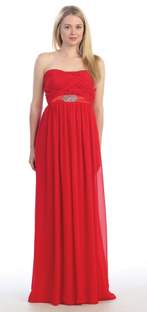 Long strapless chiffon bridesmaid dress- MQ941
