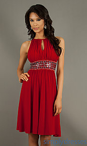 Buy Short High Neck Ruched Dress at SimplyDresses