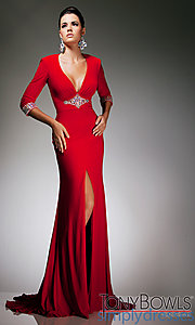Buy Long V-Neck Dress with Sleeves at SimplyDresses