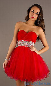 Buy Short Red Strapless Sweetheart Dress at SimplyDresses