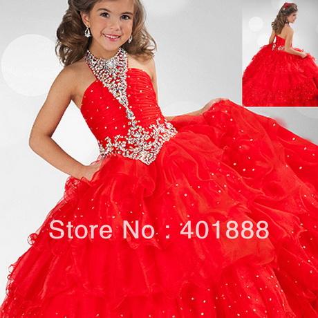Red kids beautiful model ball gown latest organza fancy flower girl