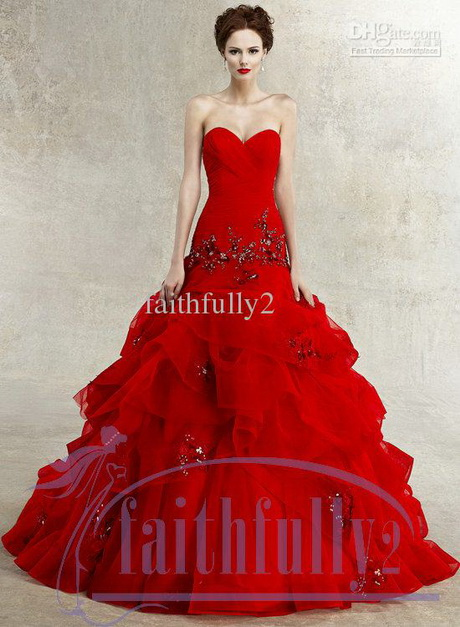 Red Wedding Dresses Lace : Wholesale wedding dresses buy red dress sweetheart ball