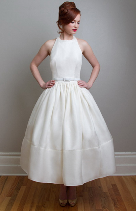 Retro vintage wedding dress for Retro tea length wedding dresses