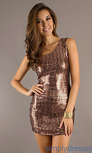 Buy Short Sequin One Shoulder Dress at SimplyDresses