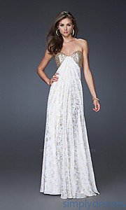 Buy Strapless White & Gold La Femme Dress at SimplyDresses