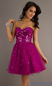 Buy Short Strapless Sweetheart Sequin Embellished Dress at SimplyDresses