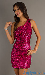 Buy Pink Sequin One Shoulder Dress at SimplyDresses