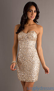 Buy Short Strapless Sequin Dress by Scala at SimplyDresses