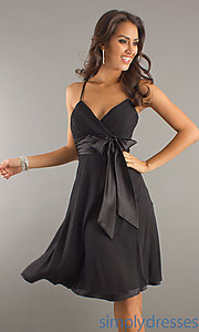 Buy Knee Length Shirred Satin Bow Dress at SimplyDresses