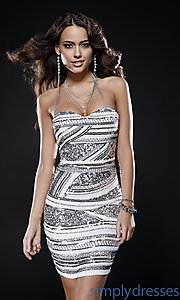 Buy Strapless Sweetheart Sequin Dress by Scala at SimplyDresses