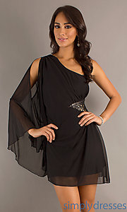 Buy Short Black Dress with One Long Sheer Sleeve at SimplyDresses