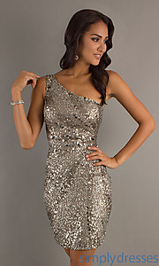 Buy Short One Shoulder Sequin Dress at SimplyDresses