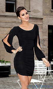 Buy Short Scoop Neck Dress with Long Sleeves at SimplyDresses