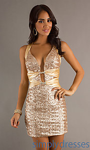Buy Low V-neck Sequin Short Dress at SimplyDresses