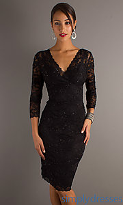 Buy 3/4 Sleeve V-Neck Dress at SimplyDresses