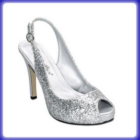 silver glitter high heels