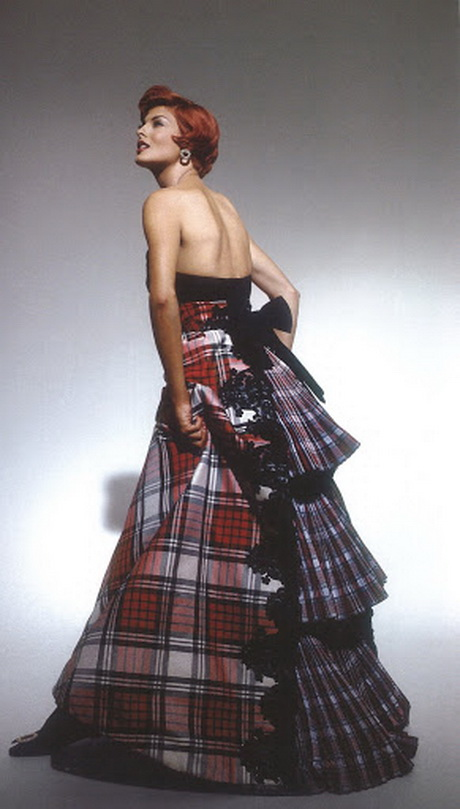 Tartan ball gowns for Scottish wedding dresses with tartan