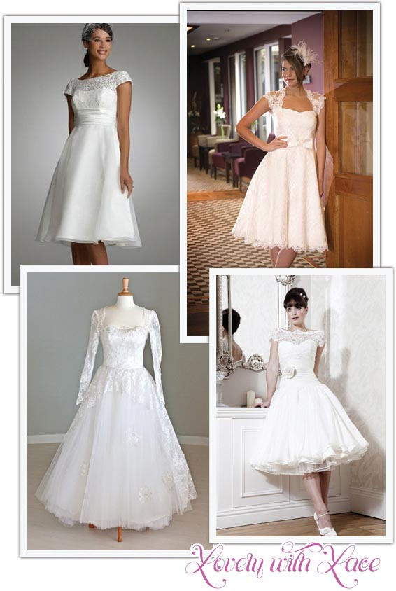 Short Lace Tea Length Wedding Dress