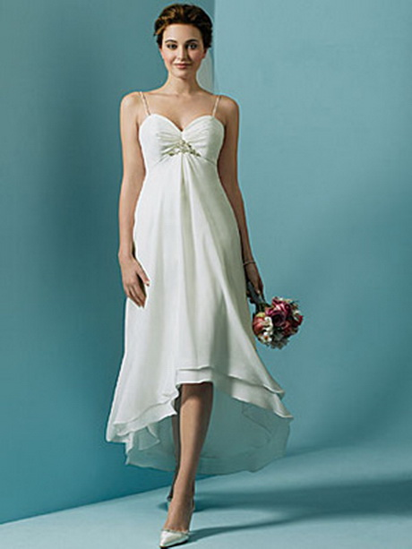 Tea length beach wedding dresses for Hi lo hemline wedding dresses