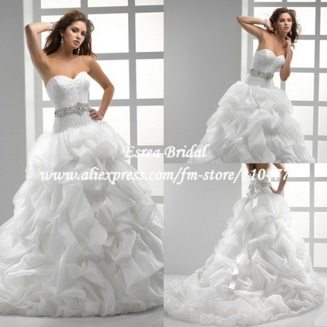 white organza ball gown corset top wedding dress