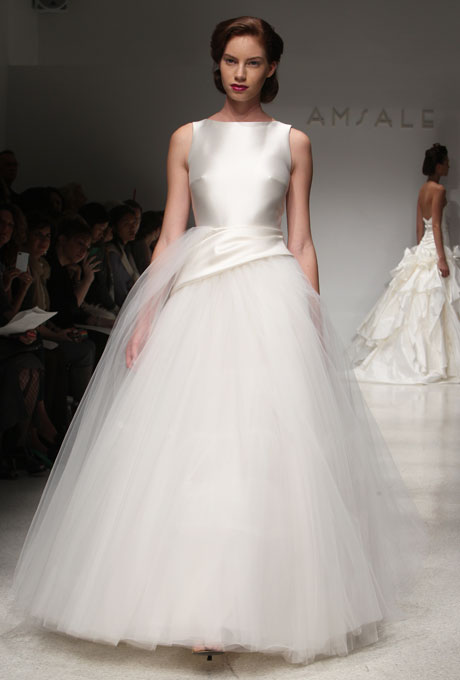 1950s inspired Amsale wedding dress with net skirt