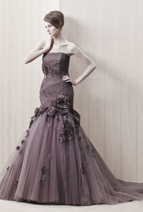 Enzoani plum coloured vintage inspired gown