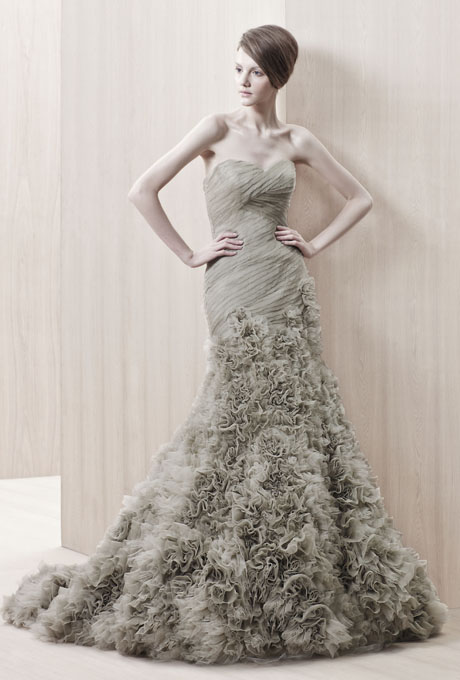 Enzoani vintage inspired dusky green bridal gown
