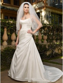 Shantung Softly Scooped Neckline A-line Wedding Dress