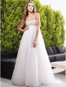 Strapless Embroidered Bodice Empire A-line Wedding Dress