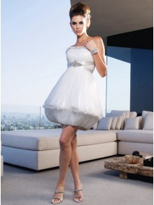 Strapless Ruched Bodice Short/Mini Wedding Dress