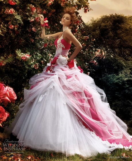 Most Beautiful Ball Gown Wedding Dresses: Wedding Gowns With Color Accents