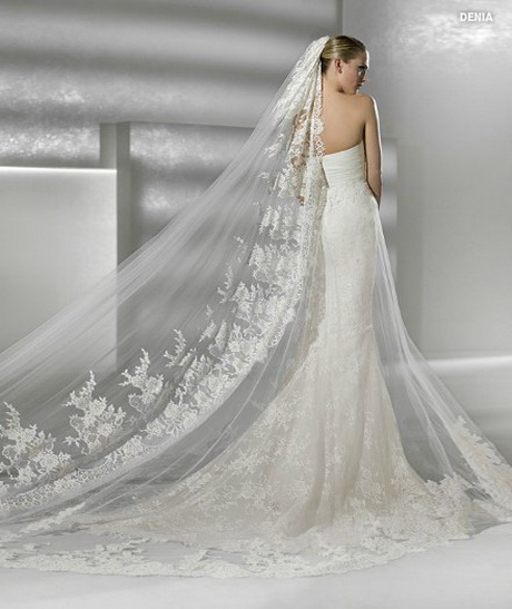 Wedding gowns with long trains for Long veil wedding dresses
