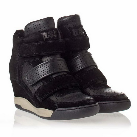 Free Shipping 2013 Ash Womens Alex Bis Wedges Sneakers Black+Apricot