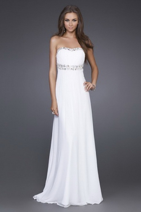 White Long Graduation Dresses 105