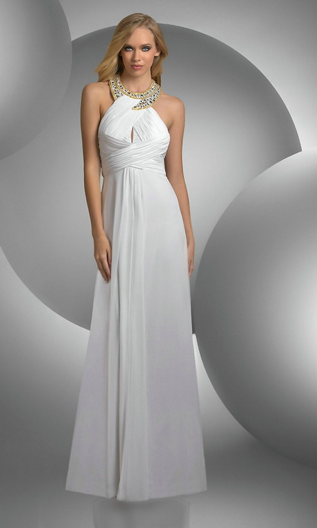 White Long Graduation Dresses 34