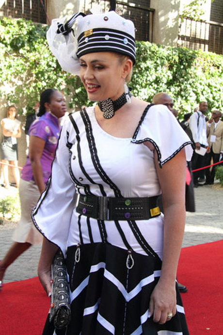 ... was elegant in an intricate Xhosa-inspired black and white dress