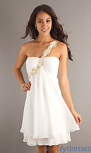 Buy Short One Shoulder Ivory Dress at SimplyDresses