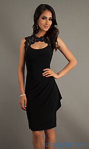 Buy Knee Length Black Dress with Lace at SimplyDresses