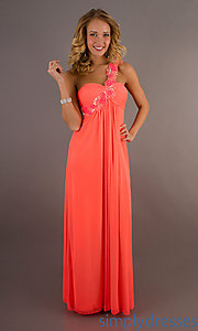Buy Long One Shoulder Neon Coral Dress by Xscape at SimplyDresses