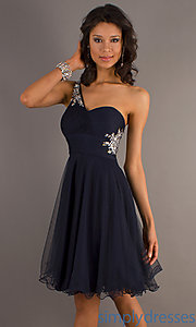 Buy Short A-Line One Shoulder Navy Dress at SimplyDresses