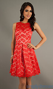 Buy Short Sleeveless Red Lace Dress at SimplyDresses
