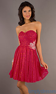 Buy Short Strapless Bright Pink Lace Dress at SimplyDresses