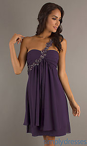 Buy Short One Shoulder Plum Dress at SimplyDresses