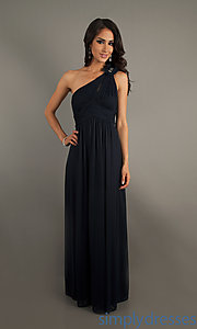 Buy Floor Length One Shoulder Navy Formal Dress at SimplyDresses