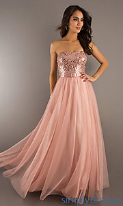 Buy Floor Length Strapless Gown with Belted Waist at SimplyDresses
