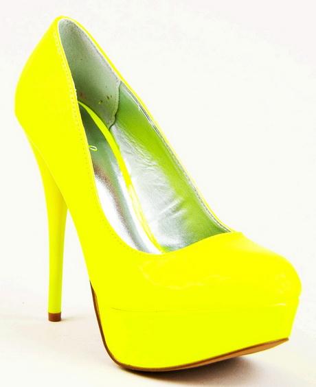 yellow high heel shoes