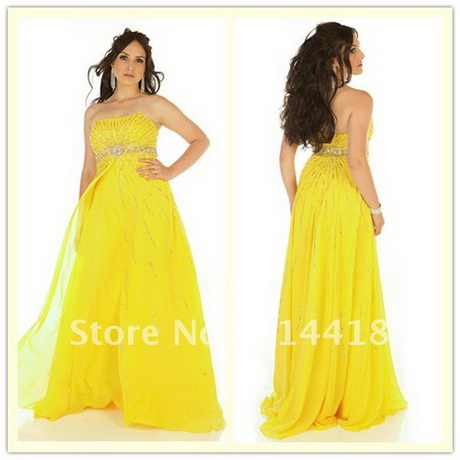 Yellow Plus Size Prom Dresses 96
