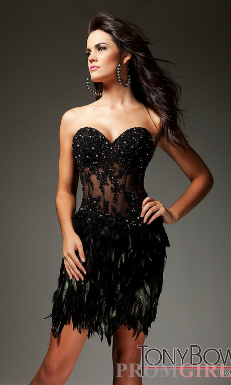 Black Sequin Cocktail Dress With Feather Hem 72