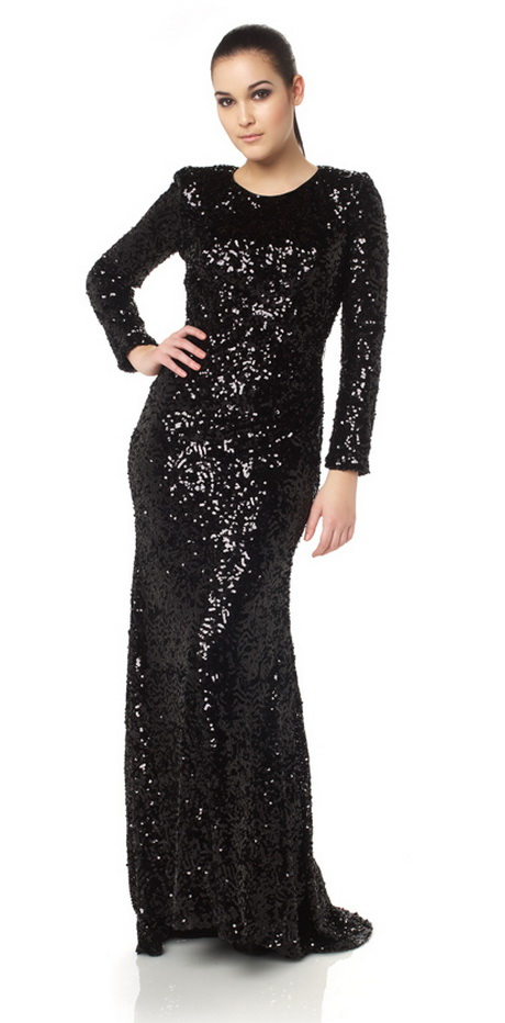 Long Black Sequin Dress